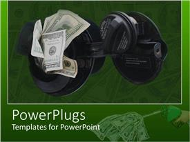 PowerPlugs: PowerPoint template with a gasoline tank with a number of dollars
