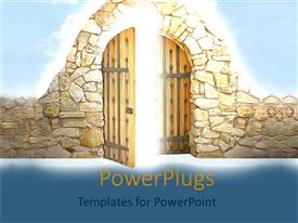 PowerPlugs: PowerPoint template with gates to heaven old fashioned doors opportunity window success as a metaphor