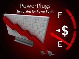 PowerPlugs: PowerPoint template with a gauge with a dollar sign approaching empty on a red background