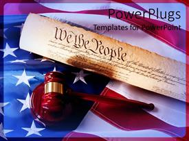 PowerPlugs: PowerPoint template with a gavel and the constitution of America