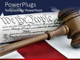 PowerPlugs: PowerPoint template with a gavel on a desk along with the American constitution