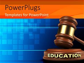 PowerPlugs: PowerPoint template with hammer and EDUCATION gavel on blue background
