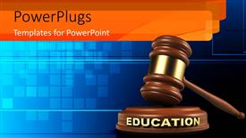 PowerPoint template displaying hammer and EDUCATION gavel on blue background