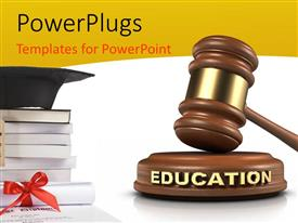 PowerPlugs: PowerPoint template with graduation cap on pile of books with hammer and gavel in white background
