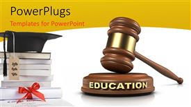 PowerPoint template displaying graduation cap on pile of books with hammer and gavel in white background