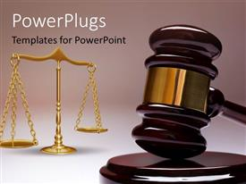 PowerPoint template displaying gavel and wight balance depicting law concept