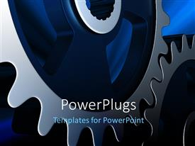 PowerPlugs: PowerPoint template with a gear with bluish background and place for text