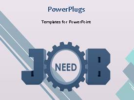 PowerPlugs: PowerPoint template with a gear in the middle of the word job and white background