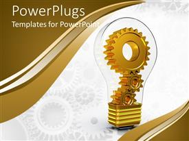 PowerPoint template displaying gears inside light bulb with white background and colorful edges