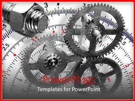PowerPlugs: PowerPoint template with gears with nut and bolt with a protractor in the background, design and engineering
