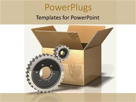 PowerPlugs: PowerPoint template with gears and packing box, logistics, manufacturing