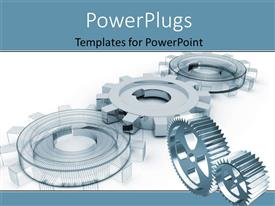 PowerPoint template displaying gears which symbolize movement mechanisms and business over white background