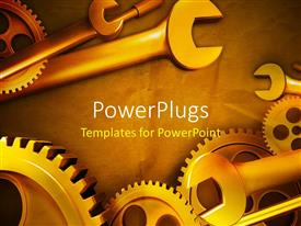 PowerPlugs: PowerPoint template with gears and wrenches over yellow background