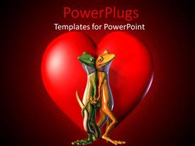 PowerPoint template displaying geckos standing back to back holding hands and tails, red heart, love