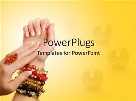 PowerPlugs: PowerPoint template with gems in background with ring on woman's hand and colored bracelets
