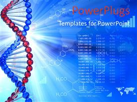 PowerPlugs: PowerPoint template with genetic DNA symbol with chemical formulas in background