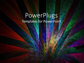 PowerPlugs: PowerPoint template with geometric multicolored peacock tail pattern on dark background