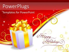PowerPlugs: PowerPoint template with gift box with bright yellow ribbon over red and white background