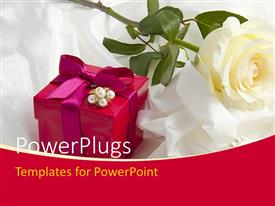 PowerPlugs: PowerPoint template with ear rings on gift box with rose on white satin