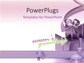 PowerPlugs: PowerPoint template with gift boxes with texts that spell out the words 'season's greetings'