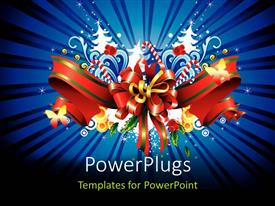 PowerPlugs: PowerPoint template with a gift hamper material with bluish background