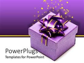 PowerPlugs: PowerPoint template with a gift hamper with a purple background including celebration material