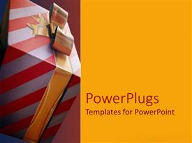 PowerPoint template displaying a gift hamper with reddish background