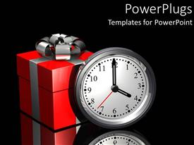 PowerPlugs: PowerPoint template with gift of time metaphor with red and silver present and clock