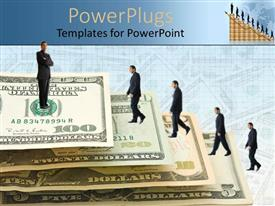 PowerPlugs: PowerPoint template with gigantic dollar bills forming stairs with businessmen in suits walking up
