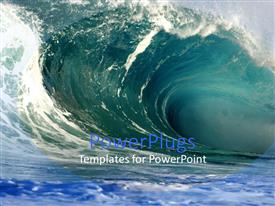 PowerPoint template displaying gigantic moving ocean wave of a wide blue sea