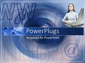 PowerPlugs: PowerPoint template with a girl along with a laptop