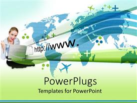 PowerPlugs: PowerPoint template with a girl behind a laptop with a number of airplanes flying int he air