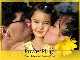 PowerPlugs: PowerPoint template with a girl being kissed by her parents