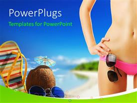 PowerPlugs: PowerPoint template with a girl in a bikini with sea in the background