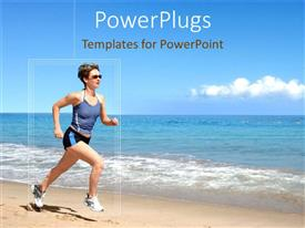 PowerPoint template displaying girl with black glasses and excercise suit running on beach