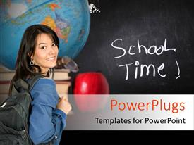 PowerPlugs: PowerPoint template with a girl with a blackboard in the background and a globe