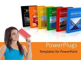 PowerPlugs: PowerPoint template with a girl with a book and a number of books in background