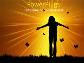 PowerPlugs: PowerPoint template with a girl with butterflies in the background