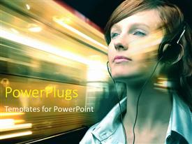 PowerPlugs: PowerPoint template with a girl in the call centre with transport in background