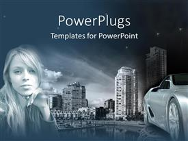 PowerPlugs: PowerPoint template with a girl with a car and skyscrapers in the background