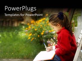 PowerPlugs: PowerPoint template with a girl with a copy and a ballpoint