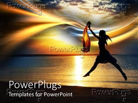 PowerPlugs: PowerPoint template with a girl dancing on the beach