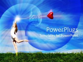 PowerPoint template displaying a girl dancing with bluish background