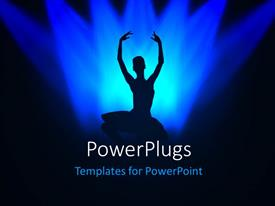 PowerPoint template displaying a girl dancing in the limelight with bluish background