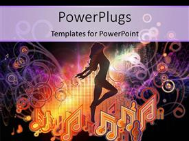 PowerPlugs: PowerPoint template with a girl dancing with music signs in the background