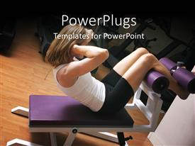 PowerPoint template displaying a girl doing exercise with machines in the background