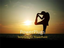 PowerPlugs: PowerPoint template with a girl doing exercise with a sea in the background