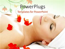 PowerPoint template displaying a girl during a spa with a number of flowers and floral background