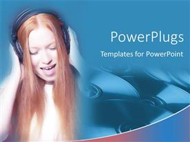 PowerPoint template displaying a girl enjoying the music with bluish background