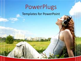 PowerPlugs: PowerPoint template with a girl enjoying the music with greenery in background